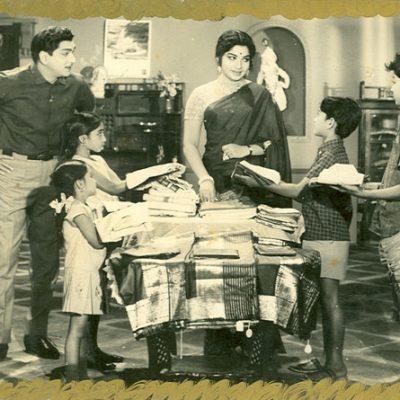With Jayalalita and Nageshwar Rao in 'Adarsha Kutumbam'